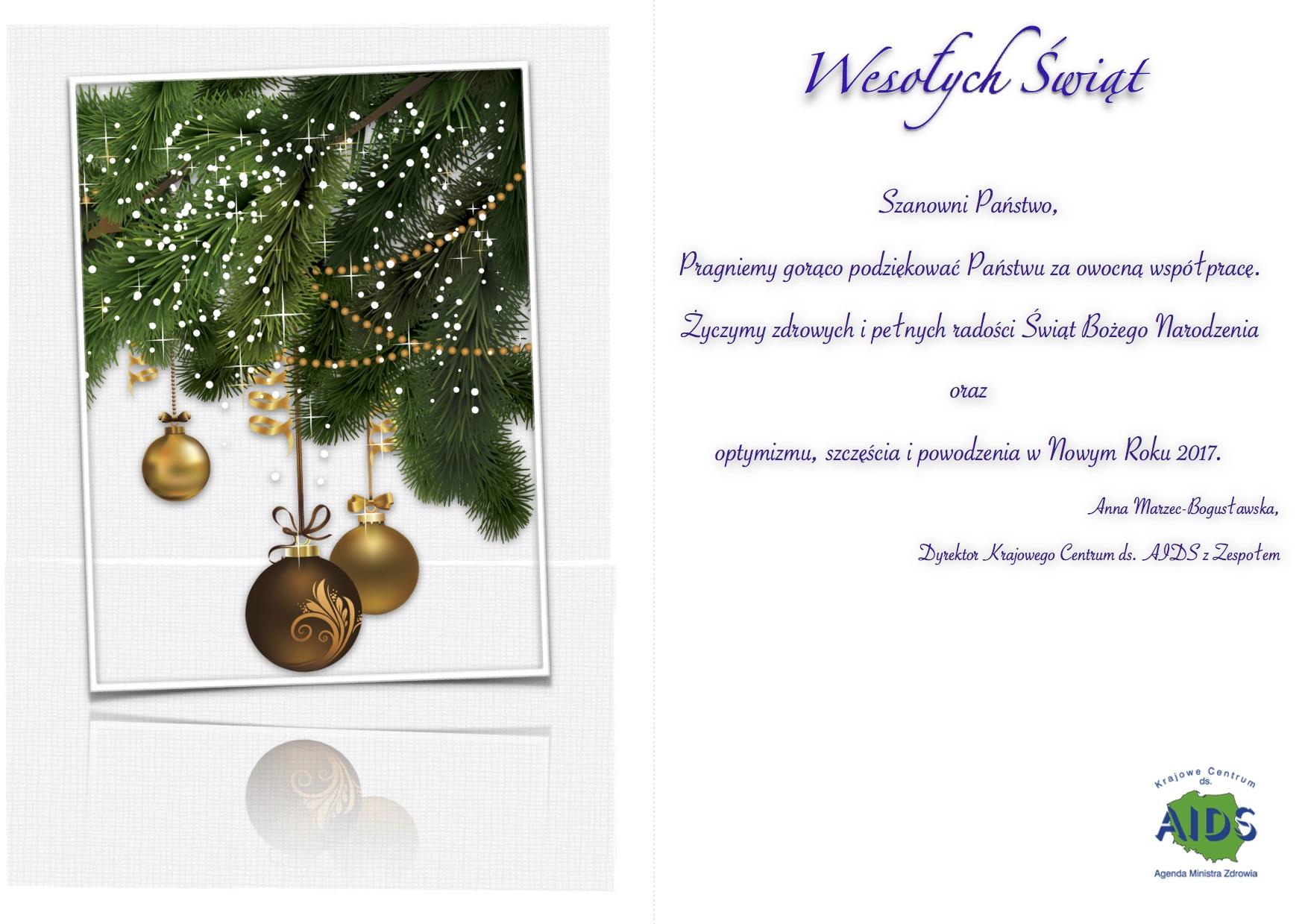 Kartka świąteczna z życzeniami